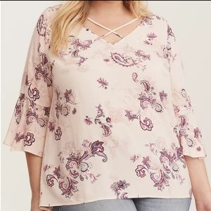 Torrid Floral Strappy Bell Sleeve Crepe Blouse